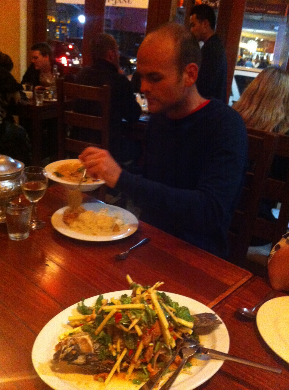 John loading up on Luv-a-duck before attempting the Barramundi Salad