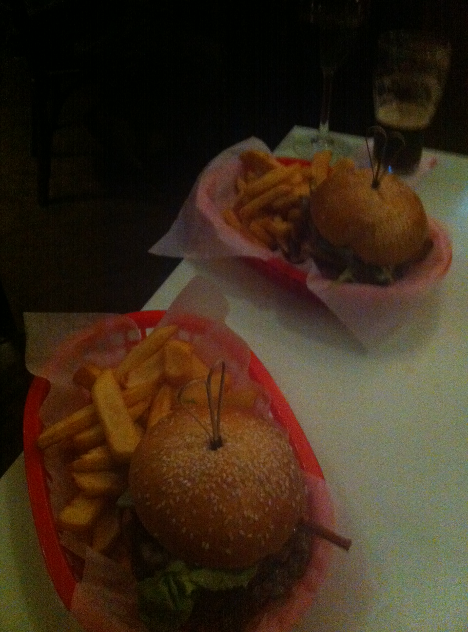 Old school burgers - well apart from the girly red basket